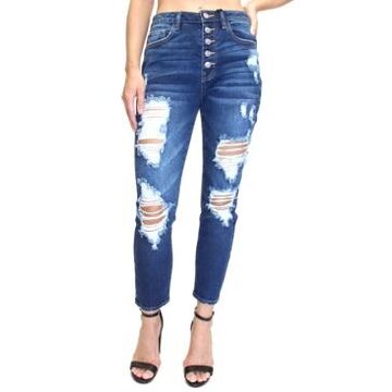 Almost Famous Juniors' Button-Fly Destructed High-Rise Mom Jeans