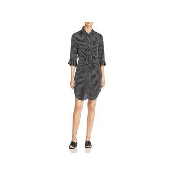 Three Dots Womens T-Shirt Dress Striped Elbow Sleeves