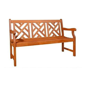 Vifah Malibu 5 Foot Outdoor Patio Eucalyptus Hardwood Garden Bench in Natural Finish