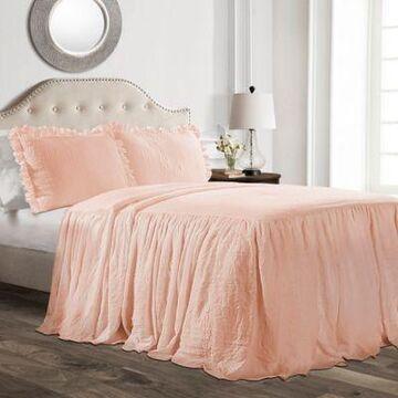 Lush Decor Ruffle 3-Piece Full Bedspread Set In Blush
