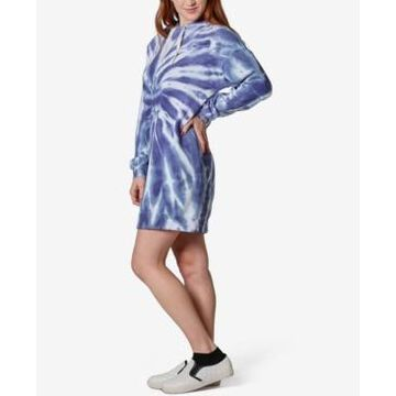 Ultra Flirt Juniors' Tie-Dye Fleece Hoodie Dress