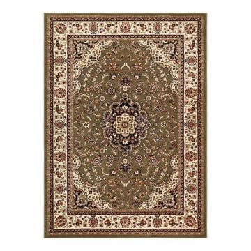 Well Woven Barclay Medallion Kashan Traditional Persian Floral Plush Area Rug, Green, 8Ft Rnd