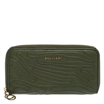 Bvlgari Green Leather Zip Around Wallet
