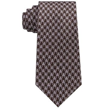 Sean John Brown Gray Men's One Size Retro Houndstooth Silk Neck Tie