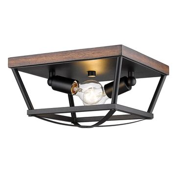 Golden Lighting Teagan 12.125-in Natural Black Incandescent Flush Mount Light   3184-FM NB-RO