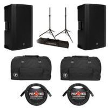Mackie Thump Boosted 15& Powered 2-Loudspeaker 3CH Mixer Package with Stands, Bags, and Cables