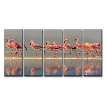 Ready2HangArt 'Flamingo' 5-Piece Canvas Wall Decor Set