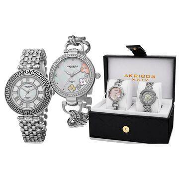 Akribos XXIV Women's Diamond Quartz Silver-Tone Bracelet Watch - silver (silver)