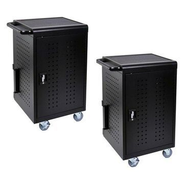 Luxor Office Classroom 30 Tablet/Chromebook Charging Cart, Black, Set