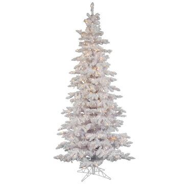 Vickerman 7.5-ft Pre-lit Traditional Slim Flocked White Artificial Christmas Tree with 550 Constant White Clear Incandescent Lights