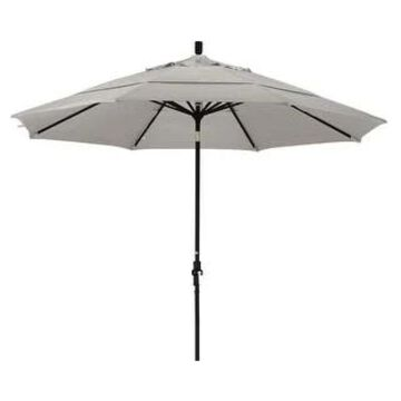 California Umbrella 11' Rd. Aluminum Market Umbrella, Crank Lift, Collar Tilt, Dbl Wind Vent, Black Finish, Olefin Fabric
