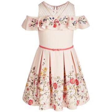 Beautees Big Girls Belted Embroidered Cold-Shoulder Dress & Necklace