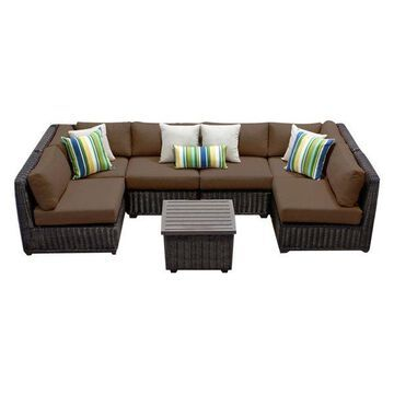 TK Classics Venice 7-Piece Outdoor Wicker Sofa Set, Cocoa