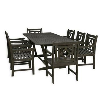 Vifah Renaissance 9-Piece Outdoor Extendable Dining Set in Vista Grey