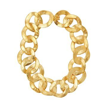 Hammered gold-tone chain necklace