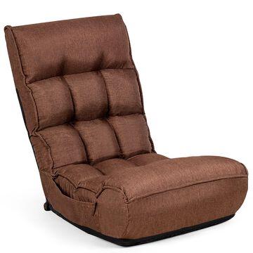 Goplus Modern Coffee Reclining Sofa in Brown | HW58053