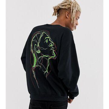 Reclaimed Vintage sweatshirt with face back print in black
