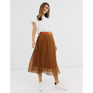 Y.A.S check pleated midi skirt-Multi