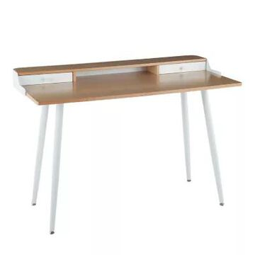 LumiSource Harvey Desk in White Steel/Natural/White Wood