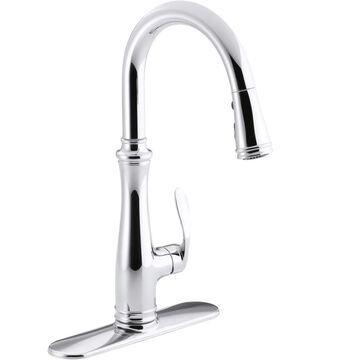 KOHLER Bellera Polished Chrome 1-Handle Deck-Mount Pull-Down Handle Kitchen Faucet (Deck Plate Included) | 560-CP