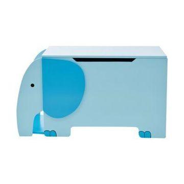 Teamson Kids Zoo Kingdom Blue Elephant Toy Storage Chest in Blue