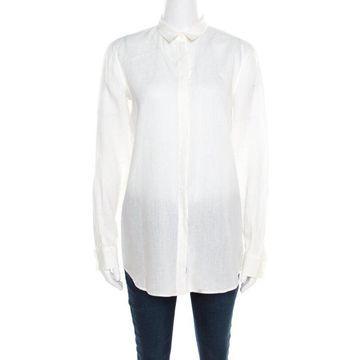 Loro Piana Cream Linen Button Front Long Sleeve Shirt M