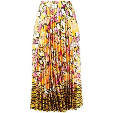 floral-print pleated skirt