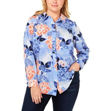 Charter Club Womens Plus Floral Print Long Sleeves Button-Down Top