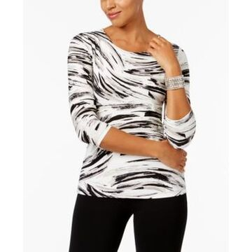Jm Collection Printed Jacquard Top, In Regular and Petite, Created for Macy's