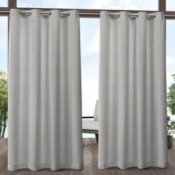 ATI Home Aztec Indoor/Outdoor Grommet Top Curtain Panel Pair (54X108 - 108 Inches - Silver)