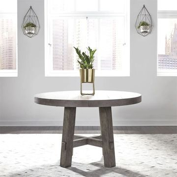 Modern Farmhouse Dusty Charcoal Round Dining Table