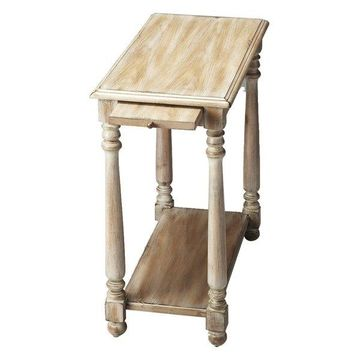 Offex Chairside Display Table with Shelf in Driftwood Finish