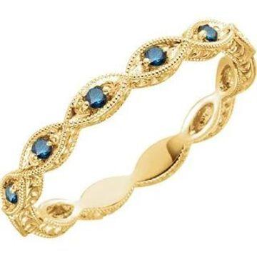 Auriya 10k Gold Vintage Inspired 1/8ctw Blue Diamond Wedding Band (Yellow - 7.5)