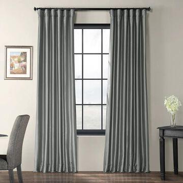 Exclusive Fabrics Solid Faux Silk Taffeta Platinum Single Curtain Panel (50 X 96 - Grey)