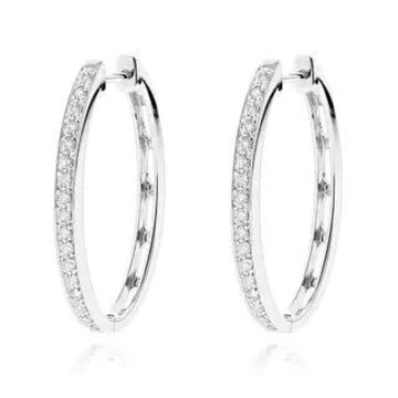 Luxurman 14k Gold 3/4ct TDW Diamond Hoop Earrings (White)
