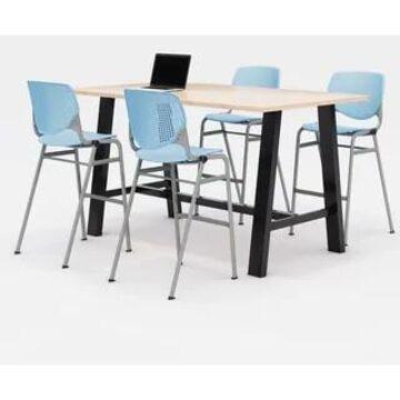 KFI Midtown Bistro Table Set, Maple Top, 4 KOOL Stools (Sky Blue Chairs)