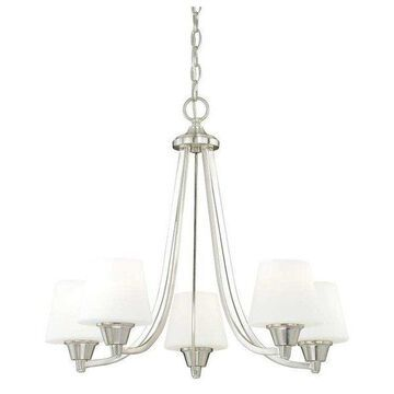 Vaxcel Lighting Calais 5 Light Single Tier Chandelier w/ Frosted Glass