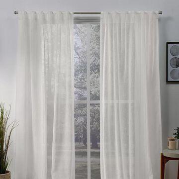 Exclusive Home 2-pack Belgian Sheer Hidden Tab Top Window Curtains, White, 50X63