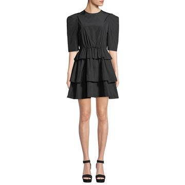 Strong-Shoulder Tiered Tie-Waist Mini Dress