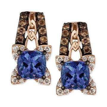 Blueberry Tanzanite (9/10 ct. t.w.) and Diamond (3/8 ct. t.w.) Earrings in 14k Rose Gold, Created for Macy's