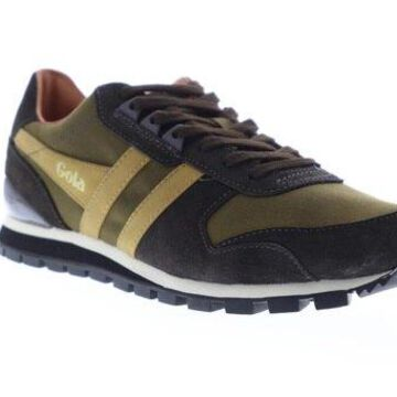Gola Lowland Millerain Olive Brown Mens Low Top Sneakers