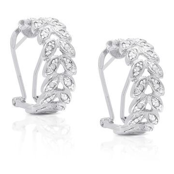 Finesque Yellow Gold over Silver 1/4ct TDW Diamond Leaf Hoop Earrings
