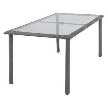 Cosco Lakewood Ranch Steel Wicker & Tempered Glass Patio Dining Table - Gray