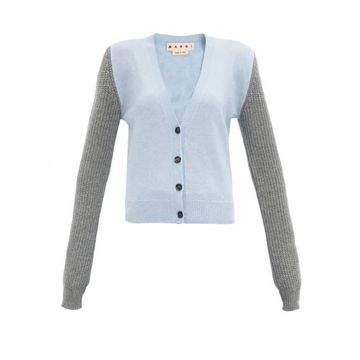 Marni - Colour-block Cashmere-blend Cardigan - Womens - Blue Multi