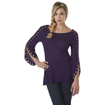 Belldini Women's Plus Embellished-Sleeve Sweater Collection