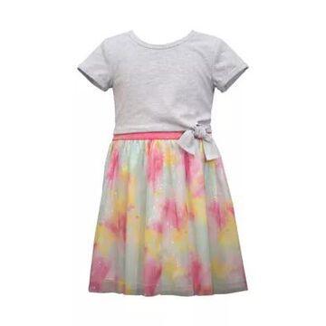 Bonnie Jean Girls' Girls 4-6X Short Sleeve Knit Dress With Tie Dye Skirt - -