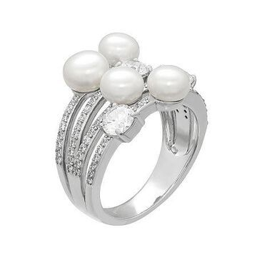 Certified Sofia Bridal Cultured Freshwater Pearl & Swarovski Cubic Zirconia Sterling Silver Ring No Color Family