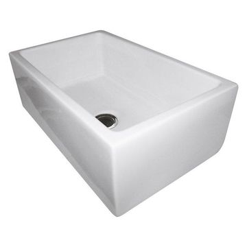 Reversible Smooth/Fluted Single Bowl Fireclay Farm Sink, White, 30