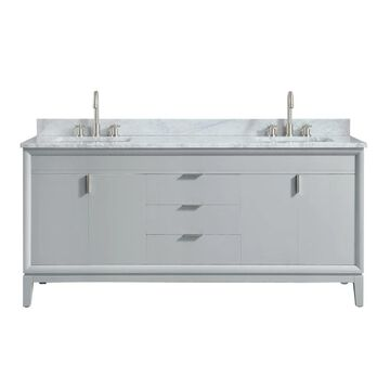 Avanity Emma 73-in Dove Gray Undermount Double Sink Bathroom Vanity with Carrera White Natural Marble Top   EMMA-VS73-DG-C