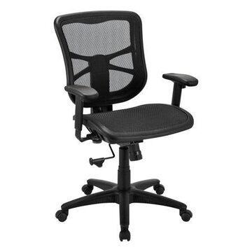 Alera Alera Elusion Series Mesh Mid-back Swivel/tilt Chair, Supports Up To 275 Lbs, Black Seat/black Back, Black Base Aleel42b18